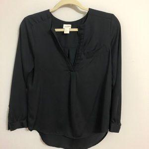 H&M conscious collection black satin feel blouse